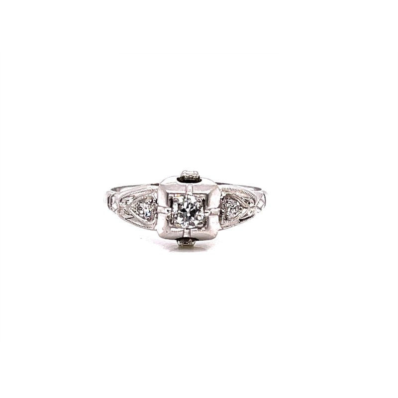 Smithworks Estate Jewelry Lady's Platinum Art Deco Oec Engagement Ring