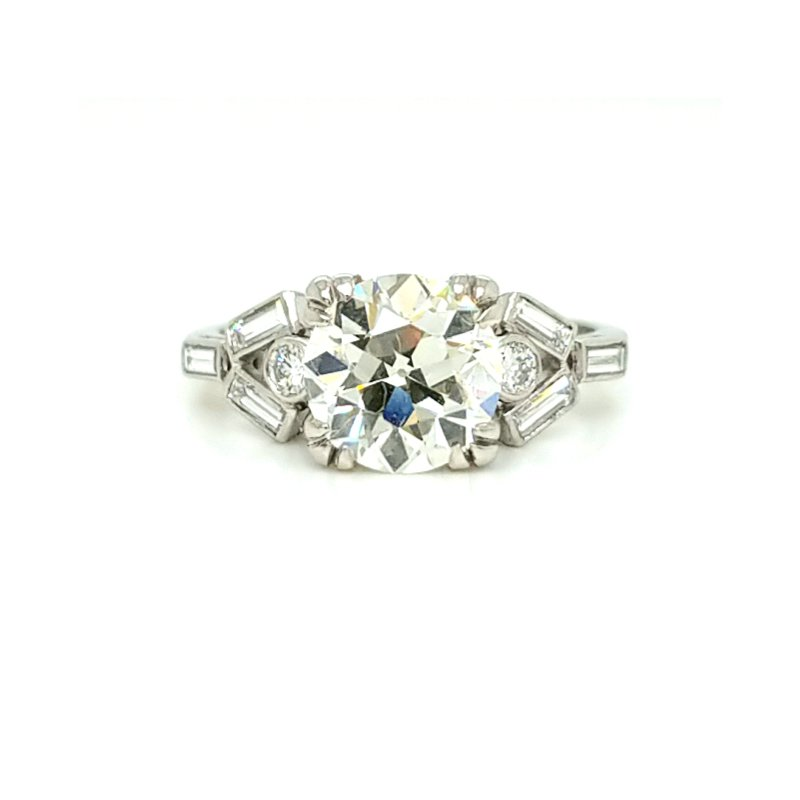 Smithworks Estate Jewelry Platinum Estate Engagement Ring with 1.75 Old European Cut Center Stone