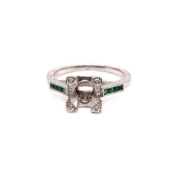Lady's Emerald and Platinum Engagement Ring