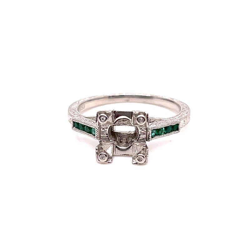 Smithworks Estate Jewelry Lady's Emerald and Platinum Engagement Ring
