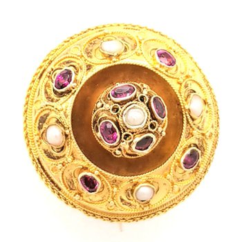 15k Yellow Gold Pin with Pearls and Rhodolite Garnet