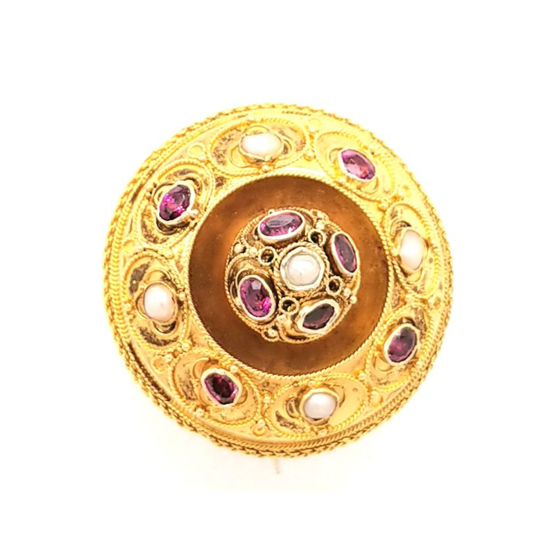 Smithworks Estate Jewelry 15k Yellow Gold Pin with Pearls and Rhodolite Garnet