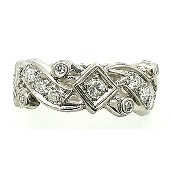 Platinum Wedding Band with Diamonds