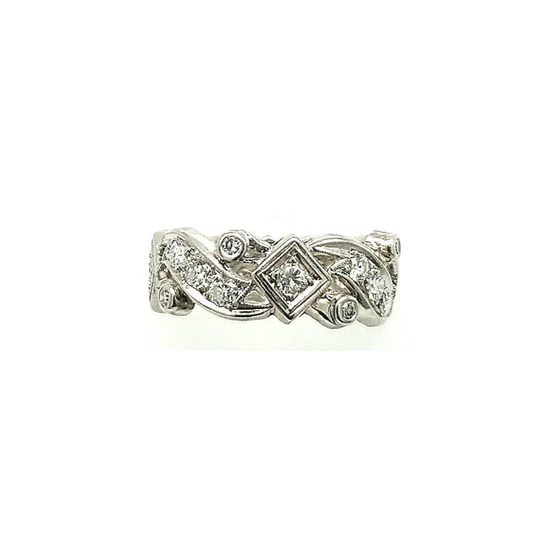 Smithworks Estate Jewelry Platinum Wedding Band with Diamonds