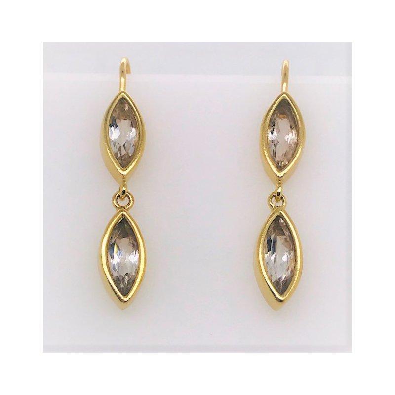 Smithworks Estate Jewelry Slane White Topaz Drop Estate Earrings