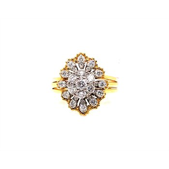 Lady's 18 Karat Bridal Ring with Guard
