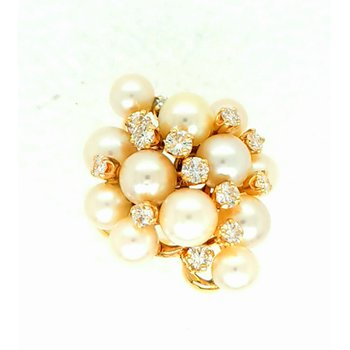 14ky Freeform Pearl and Diamond Ring