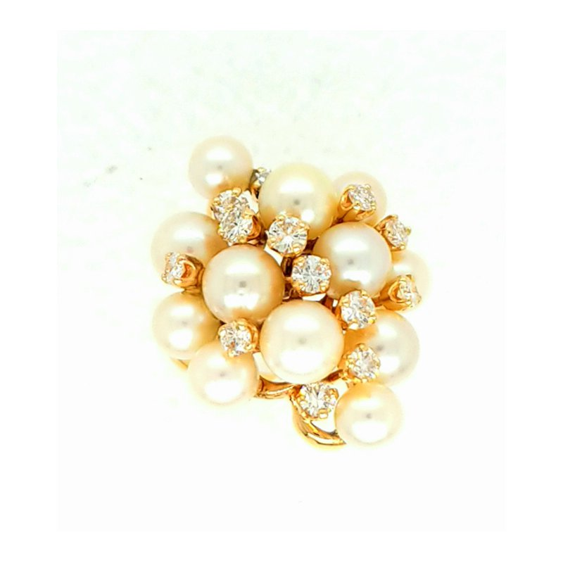 Smithworks Estate Jewelry 14ky Freeform Pearl and Diamond Ring