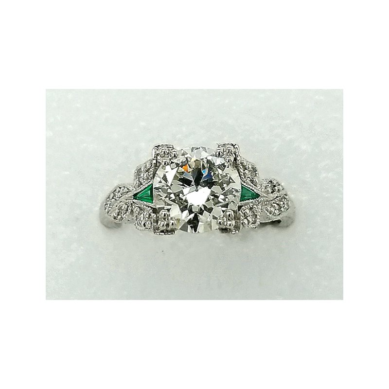Smithworks Estate Jewelry Platinum Engagement Ring with Emerald Accents