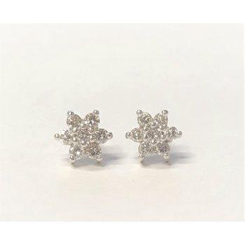 Lady's 14K Diamond Cluster Studs
