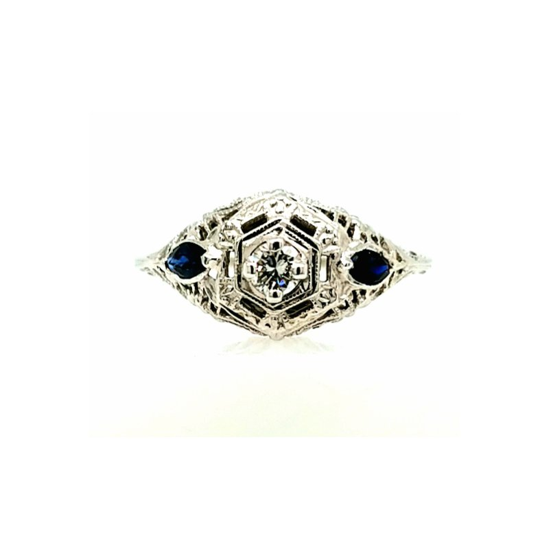 Smithworks Estate Jewelry 18k White Gold Filigree Ring with 1 Diamond and 2 Sapphires