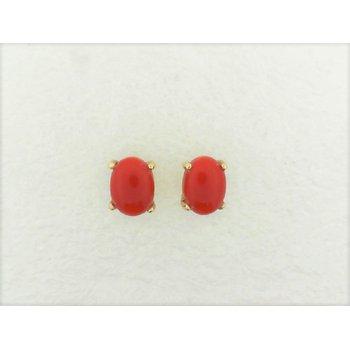 Lady's Oval Coral Cap Stud Earrings