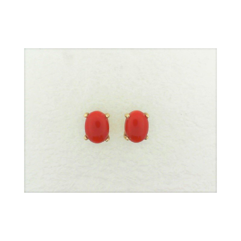 Smithworks Estate Jewelry Lady's Oval Coral Cap Stud Earrings