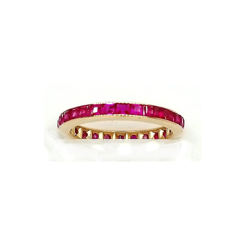 Smithworks Estate Jewelry Rose Gold and Ruby Channel Set Eternity Band