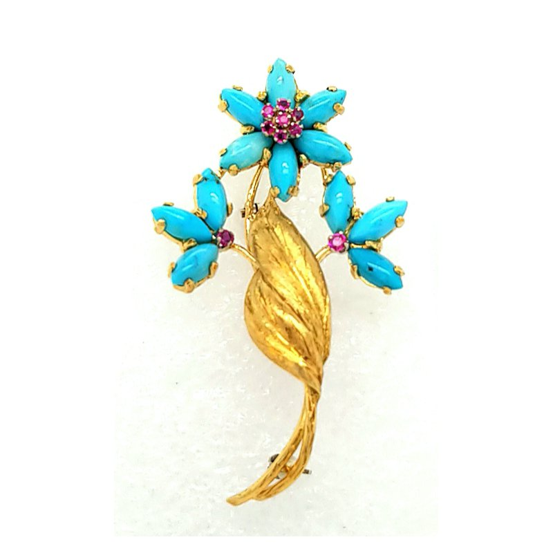 Smithworks Estate Jewelry 18K Yellow Gold Flower Pin with Turquoise Petals and Rubies