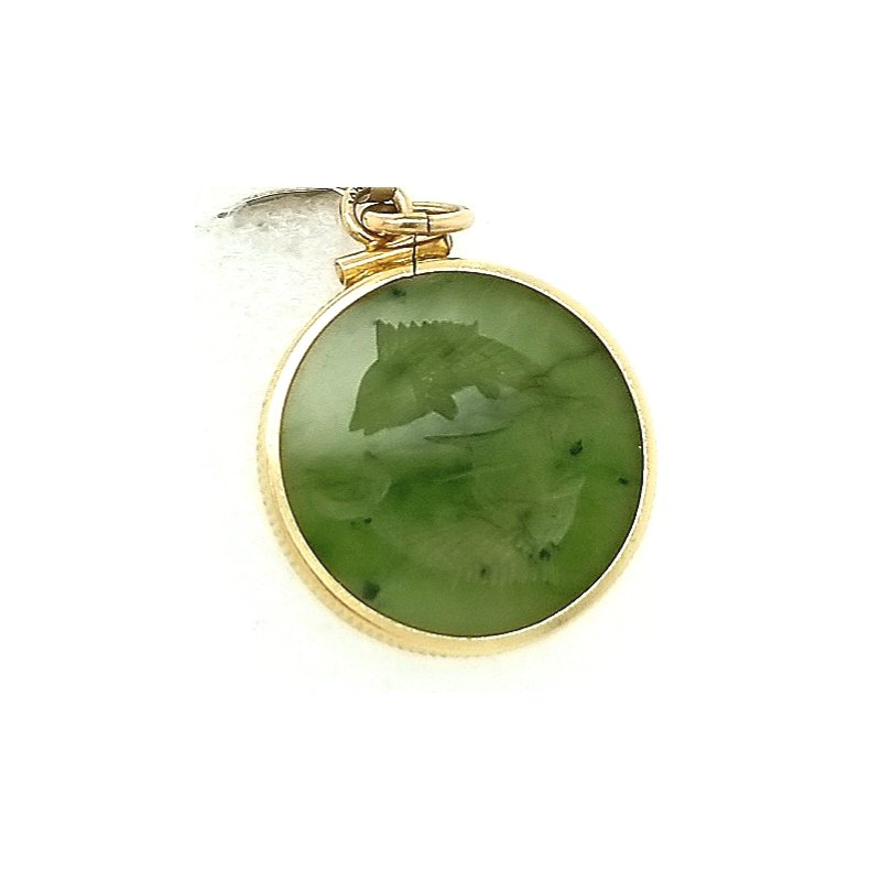 Smithworks Estate Jewelry 14ky Estate Charm Jade with Pieces Fish