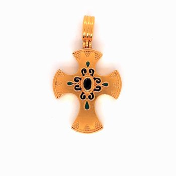Lady's Cross Enamel and Sapphire Pendant
