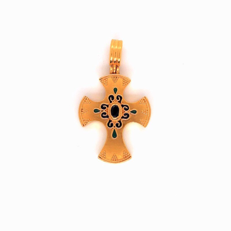 Smithworks Estate Jewelry Lady's Cross Enamel and Sapphire Pendant