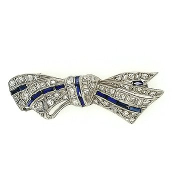 Ladies Diamond and Synthetic Sapphire Bow Pin
