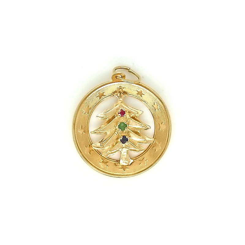 Smithworks Estate Jewelry 14ky Estate Charm Christmas Tree with 3 Accent Stones