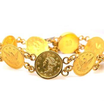 Lady's 18 Karat Coin Motif Estate Bracelet