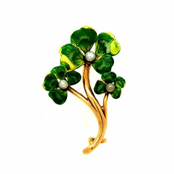 Dainty 14k Yellow Gold and Enamel 4-Leaf Clover Pin