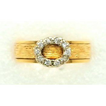 18K Yellow Gold ring with Circle of Diamonds