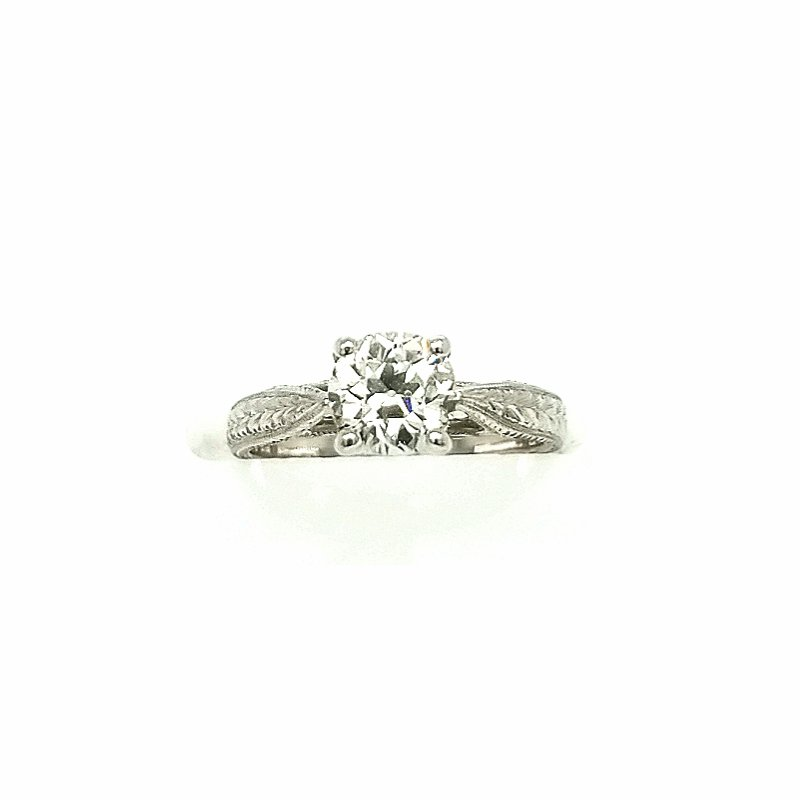 Smithworks Estate Jewelry Platinum Solitaire Hand Engraved Mounting with Diamond