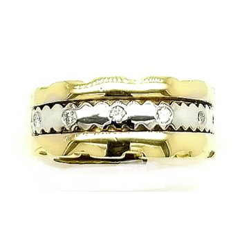 14k Ladies Wide Two-Tone Ring with Diamonds