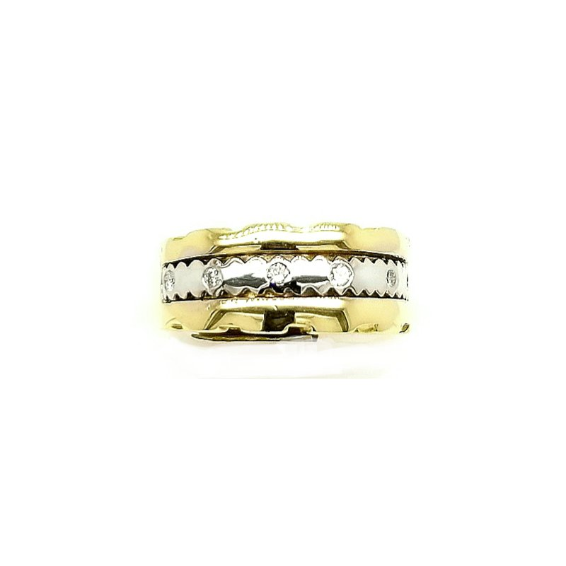 Smithworks Estate Jewelry 14k Ladies Wide Two-Tone Ring with Diamonds