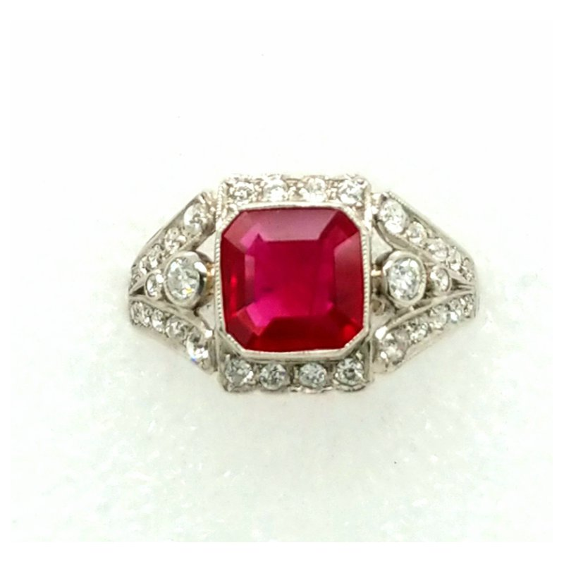 Smithworks Estate Jewelry Ruby and Diamond Ring in Platinum