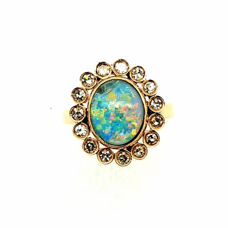 Smithworks Estate Jewelry 14K Yellow Gold Opal and Diamond Ring