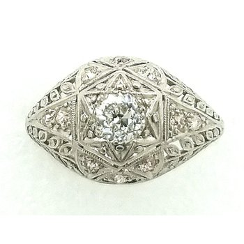 Platinum Filagre Dome Ring with Diamonds