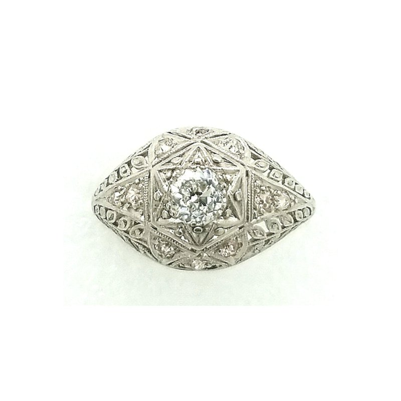 Smithworks Estate Jewelry Platinum Filagre Dome Ring with Diamonds