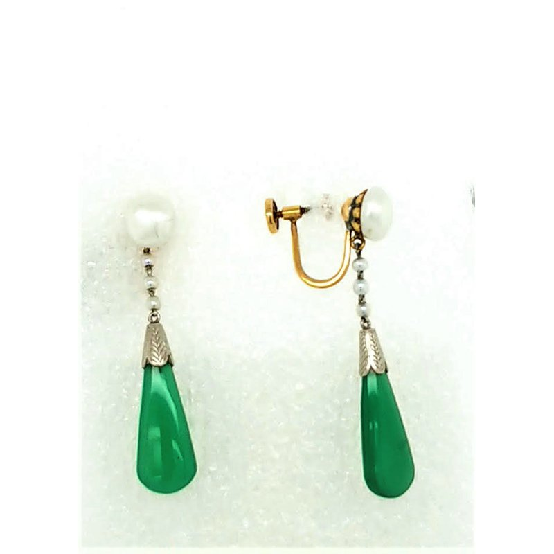 Smithworks Estate Jewelry Lady's Chrysoprase and Pearl Drop Earrings