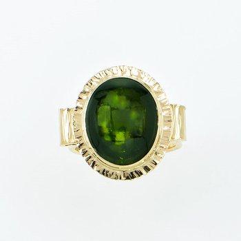14KY Cabochon Green Tourmaline Ring