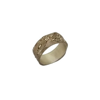 SS/Copper Mokume Gane Band Ring with 0.10 cttw Diamonds