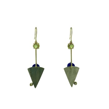 SS/14KY Lapis and Peridot Earrings with Diamond Accents