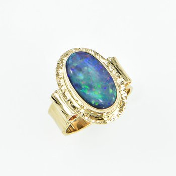 14KY Black Opal Doublet Ring