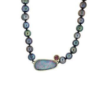SS/14KY Boulder Opal, Pink Tourmaline and Freshwater Pearl Necklace