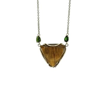 SS/14KY Rutilated Quartz and Green Tourmaline Necklace