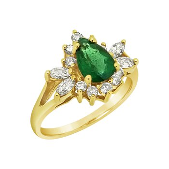 Estate 14KY Emerald and Diamond Ring
