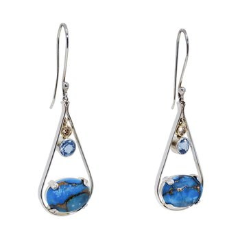 SS/14KY Oval Turquoise Earrings with Blue Topaz and Diamonds