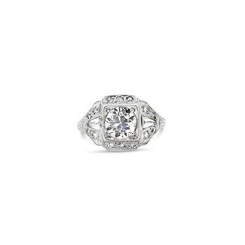 Estate Platinum Art Deco Engagment Ring