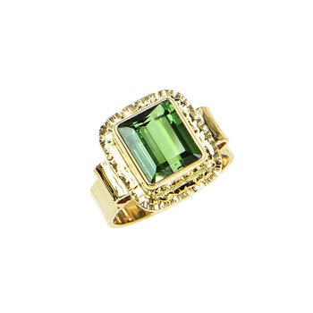 14KY Step Cut Green Tourmaline Ring