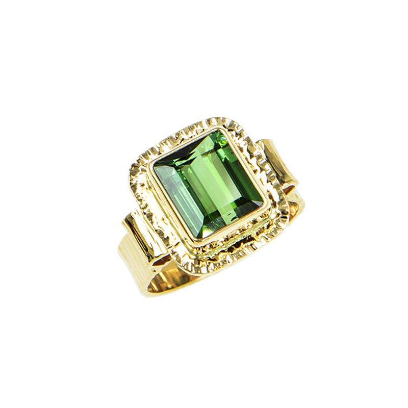 Baksa Studio Art Jewelry 14KY Step Cut Green Tourmaline Ring