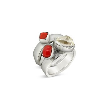 SS Coral and Herkimer Diamond Ring
