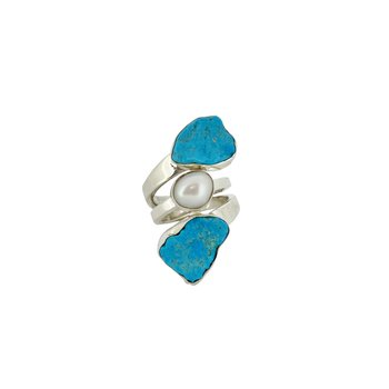 SS Turquoise and Pearl Bypass Ring