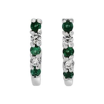 Estate 14KW Emerald and Diamond J-Hoop Earrings
