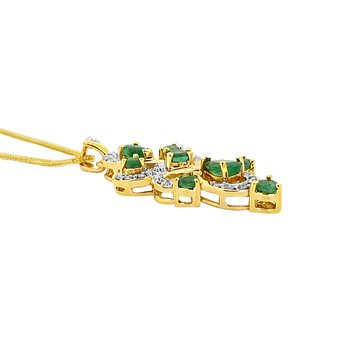 14KY Emerald and Diamond Pendant with Chain